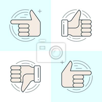 Płaskie ustawić ikony linii. Cienkie liniowe ikony skoku wektora Ręce, Kciuk w górę lub jak ikony, palec wskazujący pojęcia social media