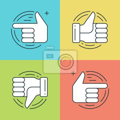 Płaskie ustawić ikony linii. Cienkie liniowe Ręce udar wektor, Kciuk w górę lub jak ikona, palec wskazujący symboli social media.