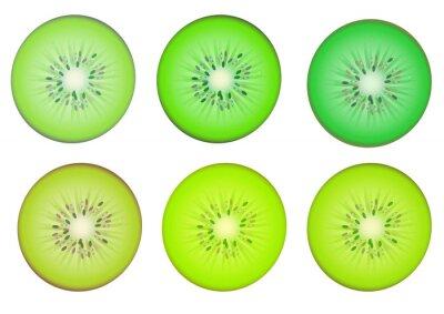 Naklejka Plasterki kiwi w zielonym odcieniu koloru wielokrotnego