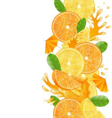 Naklejka Plasterki pomarańczy i cytryny