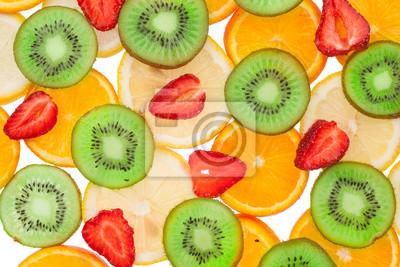 Plastry pomarańcza, cytryna, truskawka i kiwi