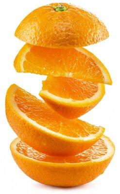Naklejka Plastry pomarańczy na białym tle.