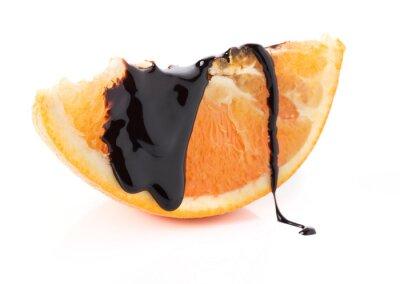 Naklejka plastry pomarańczy z topniejącego czekolady wątków