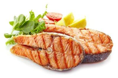 Naklejka plastry świeżego łososia stek z grilla