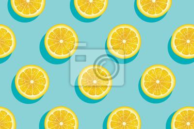 Naklejka Plastry świeżego żółtego latem cytryny tła.