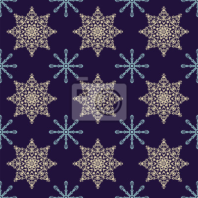 Naklejka Płatki śniegu Boże Narodzenie wzór, bezszwowe tło wektor