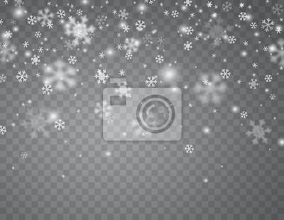 Płatki śniegu spadają na przezroczystym tle. Wektorowa boże narodzenie śniegu nakładki tekstura, biali płatki śniegu lata w zimy powietrzu.
