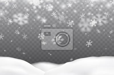 Płatki śniegu spadające z zaspy na przezroczystym tle. Wektorowa boże narodzenie opadu śniegu nakładki tekstura, biali płatki śniegu lata w zimy powietrzu.