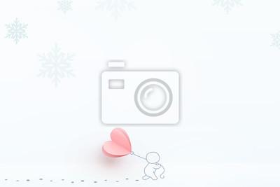 Płatki śniegu z mężczyzna mienia serca balonem. Wektorowa zimy pocztówka dla walentynka dnia, Szczęśliwego nowego roku lub Bożenarodzeniowego kartka z pozdrowieniami projekta.