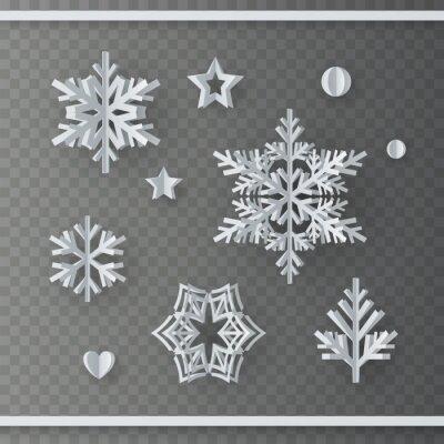 Płatki śniegu zestaw na białym tle na przezroczystym tle. Białe płatki śniegu, szablon gwiazdy. Wektorowi boże narodzenia tapetują elementy dla xmas, nowego roku lub zimy projekta.