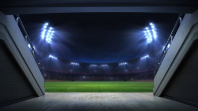 player entrance to illuminated stadium full of fans, football stadium sport theme digital 3D background advertisement illustration