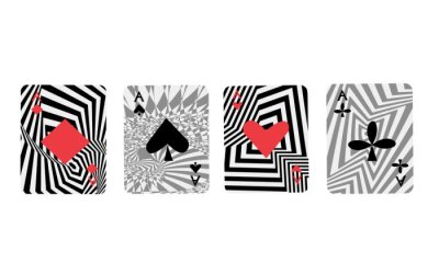 Naklejka playing cards four aces in op art style modern icons for poker and casino
