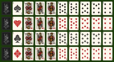 Naklejka Playing cards vintage colorful composition