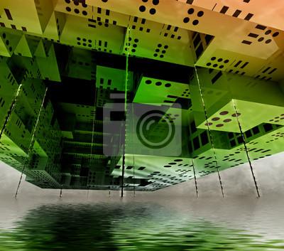 pływające miasto koncepcję nowoczesnego obserwacji kosmicznym