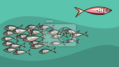 Naklejka Pływanie pod prąd Fish