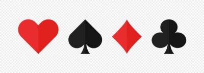 Naklejka Pocer card suits set flat icon on white background. Vector isolated