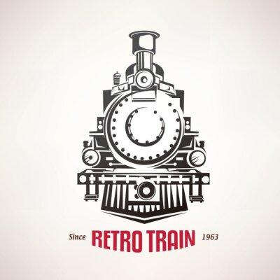 Naklejka Pociąg retro, vintage, vector, Symbol, emblemat, szablon etykiety