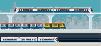 Naklejka Pociąg, Sky Train, Subway, Ilustracja Ikony obiektów
