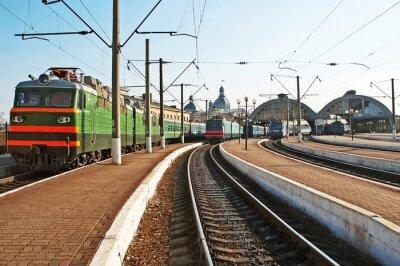 Naklejka Pociągi na stacji kolejowej