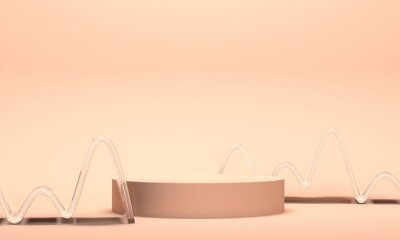 Podium for cosmetics with glass figure wave. Backdrop design for product promotion. 3d rendering