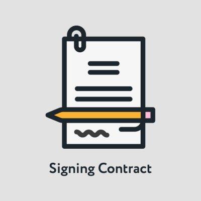 Podpisanie umowy długopis podpis minimalistyczny kolor płaskiej linii obrysu ikona piktogram
