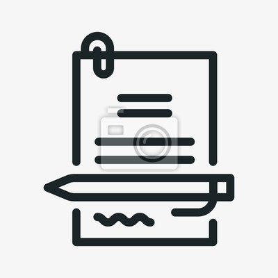 Podpisanie umowy długopis podpis minimalistyczny płaski kreska ikona piktogram