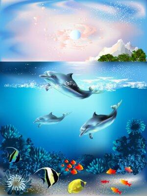 Naklejka Podwodny świat z delfinami i roślin