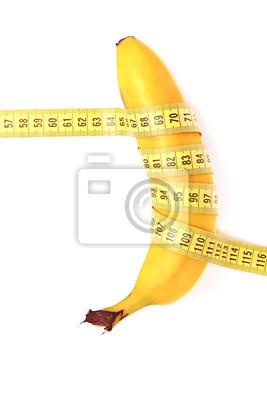 Pojęcie diety. banana z miarką