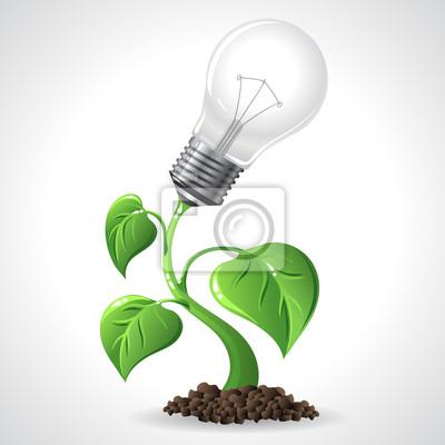Pojęcie energii Green - Oszczędność energii żarówki.