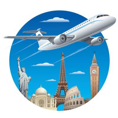Naklejka Pojęcie podróży lotniczych