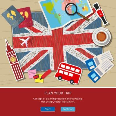 Naklejka Pojęcie podróży lub nauki angielskiego.