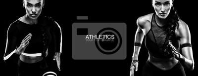 Naklejka Pojęcie sportu. Czarno-białe zdjęcie. Koncepcja Runner.