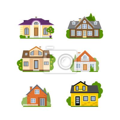 Pojedyncze domu zestawu. Pojęcie nieruchomości, nieruchomości i własności. Cztery różne kolorowe domy.