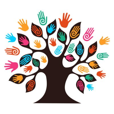 Pojedyncze drzewo różnorodność ręce