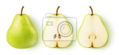 Naklejka Pojedyncze gruszki. Cała żółtej zieleni bonkrety owoc i dwa połówki odizolowywającej na białym tle z ścinek ścieżką z rzędu