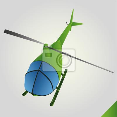 pojedyncze zielone zabawka helikopter w locie wektora