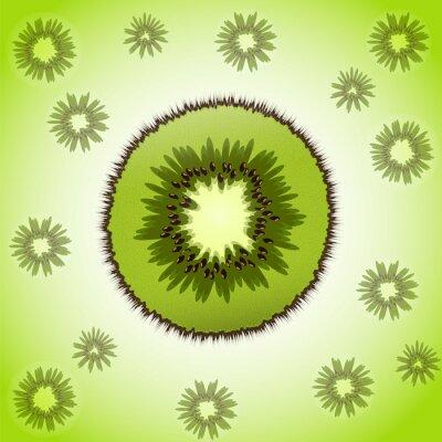Naklejka Pojedynczy kawałek kiwi na tle owoców