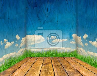 pokój drewna z błękitne niebo i zielona trawa ścian