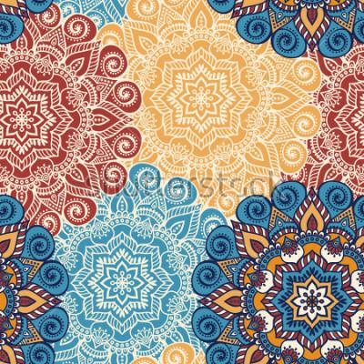 Naklejka Połączona wzór płytka z mandalas. Vintage elementy dekoracyjne. Ręcznie opracowany tło. Islam, arabski, indyjski, otomańskie motywy. Idealny do góry na tkaninie lub papieru.