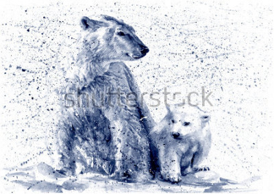 Naklejka Polar bear black&white