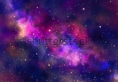 Naklejka Pole gwiazd w przestrzeni galaktyki z mgławicy, streszczenie akwarela cyfrowy obraz sztuki na tle tekstury
