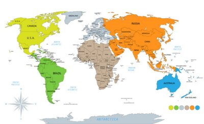Naklejka Political world map on white background, with every state labeled and selectable. Colored by continents. Versatile file, turn on an off visibility and color of each country in one click.