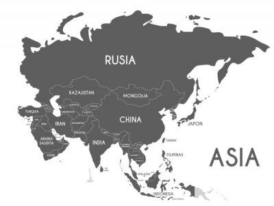 Naklejka Polityczna Azja mapa wektorowa ilustracja odizolowywająca na białym tle z krajów imionami w hiszpańskim. Edytowalne i wyraźnie oznaczone warstwy.