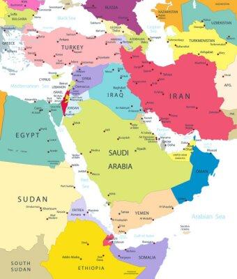 Naklejka Polityczna mapa Bliskiego Wschodu i Azji Na Białym