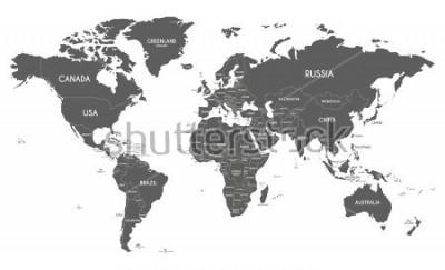 Naklejka Polityczna mapa świata wektor ilustracja na białym tle.