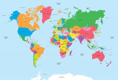 Naklejka Polityczna mapa świata wektora