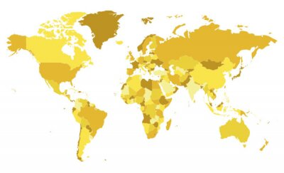 Naklejka Polityczna pusta mapa świata ilustracji wektorowych z różnymi odcieniami żółtego dla każdego kraju. Edytowalne i wyraźnie oznaczone warstwy.