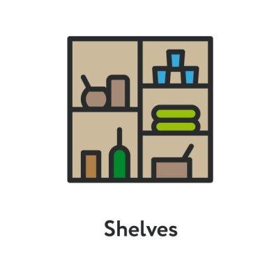 Półki Przechowywanie Wnętrze z Towarów Butelka Minimalna Kolor Płaska linia Zarys Ikona obrysu