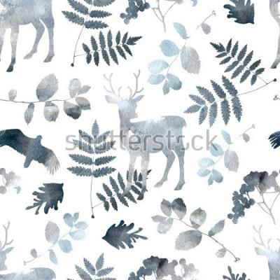 Naklejka Północnej lasu wzór z jelenia, ptaki, elementy liści. Akwarela wyciągnąć rękę