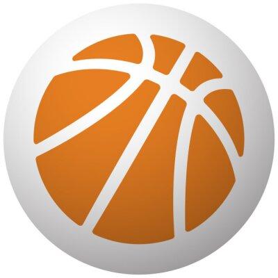 Naklejka Pomarańczowa ikona Koszykówka na kuli na białym tle